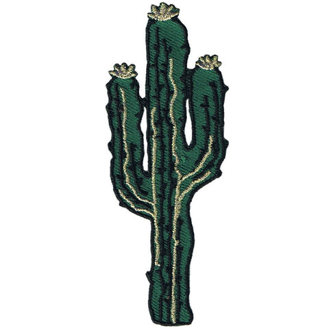 "Cactus Applique Patch - Western Saguaro, Metallic Gold Accents 3.5"" (Iron on)"