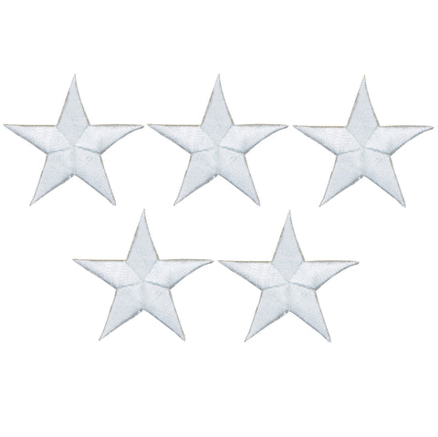 "Star Applique Patch - White 1.5"" (5-Pack, Iron on)"