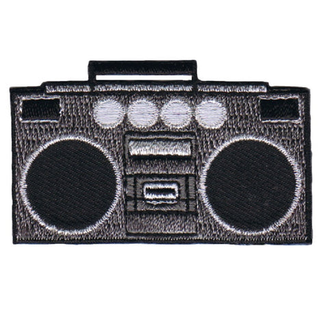 "Boombox Applique Patch - Tape Deck, Jambox, Radio, Speakers 2.25"" (Iron on)"