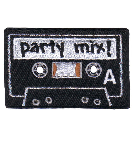 Cassette Tape 80's 90's Applique Patch - Party Mix! Side A (Iron on)