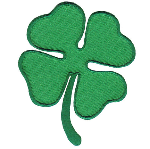 "Four Leaf Clover Applique Patch - Shamrock, Good Luck Badge 2.75"" (Iron on)"