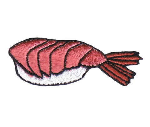 "Sushi Applique Patch - Ebi Nigiri, Shrimp, Rice, Foodie Badge 2"" (Iron on)"