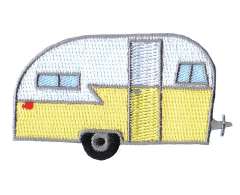 "Camper RV Applique Patch - Trailer, Recreational Vehicle, Camping Badge 2.5"" (Iron on)"