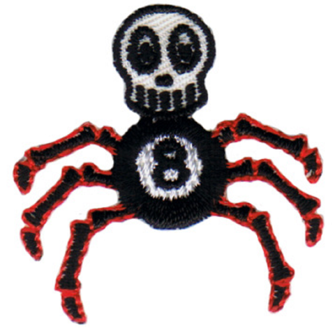 "Skull Applique Patch - Spider, Eight Ball, Skeleton Badge 1.25"" (Iron on)"
