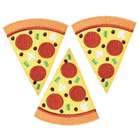 "Pizza Applique Patch - Slice, Pepperoni, Cheese, Pizzeria 3"" (3-Pack, Iron on)"