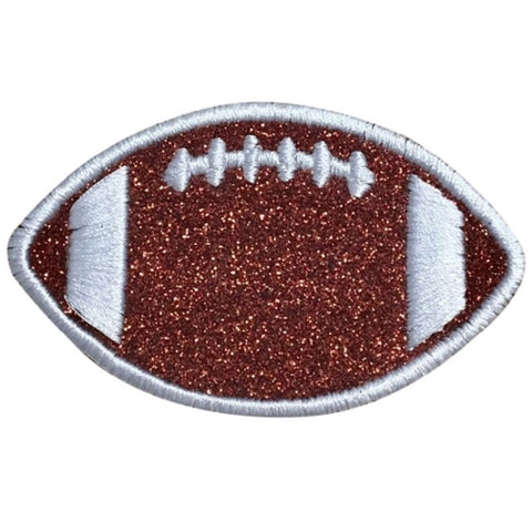 "Glitter Football Applique Patch - Sparkly Sports Badge 3"" (Iron on)"