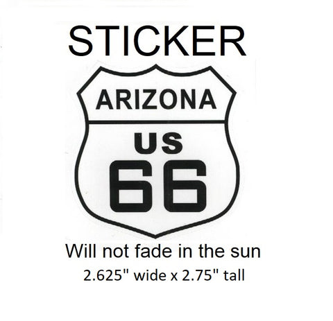 "Arizona Route 66 Vinyl Sticker - Will not fade in the sun, 2.625"" wide x 2.75"" tall"