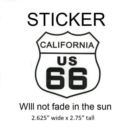 "California Route 66 Vinyl Sticker - Will not fade in the sun, 2.625"" wide x 2.75"" tall"