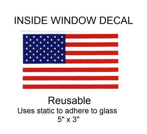 "USA United States Flag Inside Window Decal - 5"" x 3"""