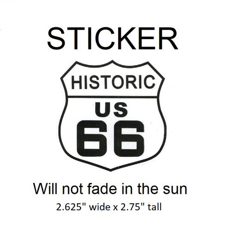 "US Historic Route 66 Vinyl Sticker - Will not fade in the sun, 2.625"" wide x 2.75"" tall"