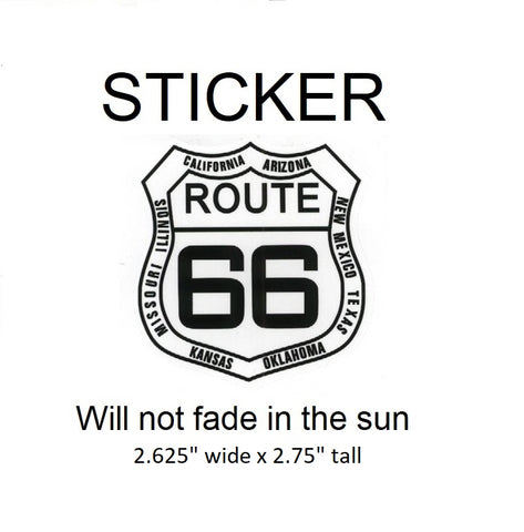 "Route 66 with State Names Vinyl Sticker - Will not fade in the sun, 2.625"" wide x 2.75"" tall"