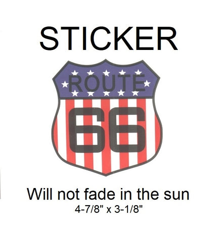 "Route 66 with USA Theme Vinyl Sticker - Will not fade in the sun, 4-7/8"" x 3-1/8"""