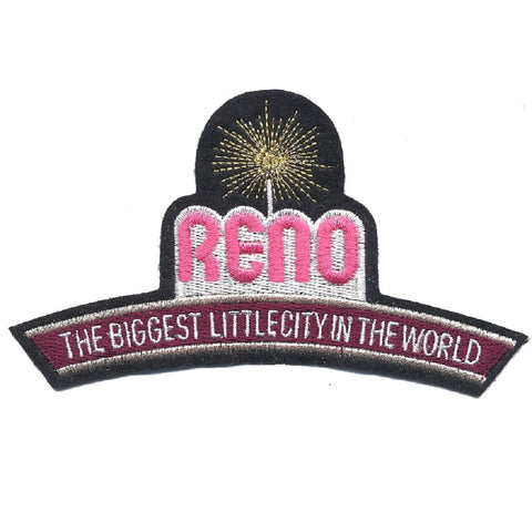 "Reno Applique Patch - Nevada, Biggest Little City in the World 4-3/8"" (Iron on)"
