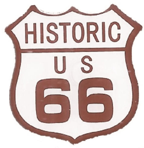 Historic Route 66 Pin - Highway Sign, Made of Metal, Epoxy Coated, Rubber Backing