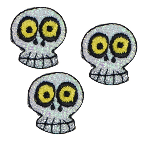 Skull Applique Patch - Shimmery (3-Pack, Small, Iron on)