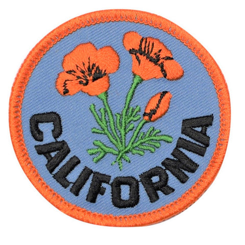 "California Poppy Patch Embroidered 2.5"" (Iron On or Sew On)"