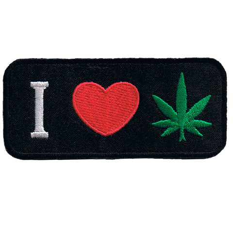 "Weed Patch - I Love Cannabis, Pot, Marijuana, CBD, THC Badge 3-3/8"" (Iron on)"