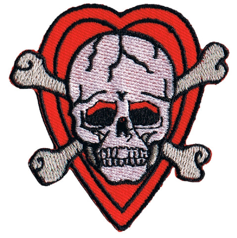 Skull and Crossbones with Hearts Applique Patch (Iron on)