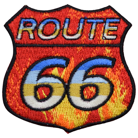 "Route 66 Patch - Fire, Flames, Motorcycle Rt 66 Badge 2.5"" (Iron on)"