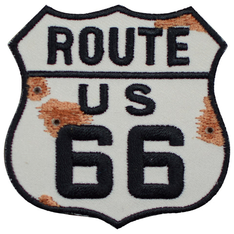 "Route 66 Applique Patch - Bullet Holes, Rust, Rt. 66 Highway Sign 2.5"" (Iron on)"