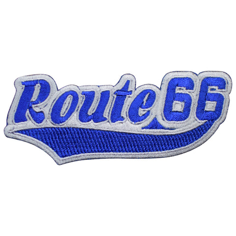 "Route 66 Patch - Blue/White Rt. 66 Script Badge 4-7/8"" (Iron on)"