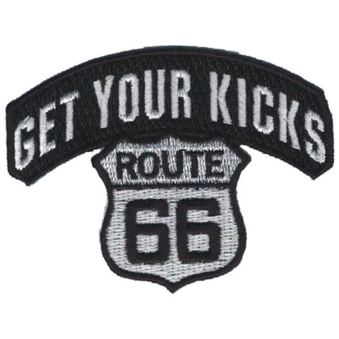 "Route 66 Applique Patch - Get Your Kicks on Rt. 66 Badge 3-1/8"" (Iron on)"