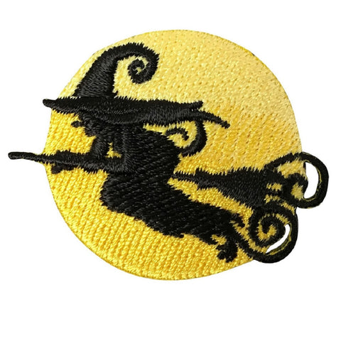 Witch on a Broomstick Applique Patch - Full Moon, Moonlight, Halloween (Iron on)