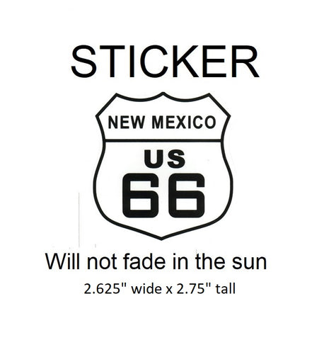 "New Mexico Route 66 Vinyl Sticker - Will not fade in the sun, 2.625"" wide x 2.75"" tall"