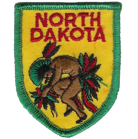 "Vintage North Dakota Patch - Native American, Indian 2-7/8"" (Clearance, Sew on)"