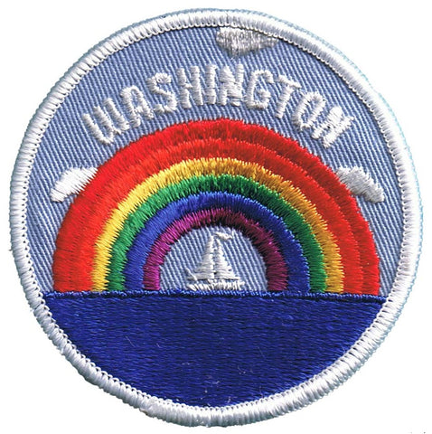 Vintage Washington Patch - Rainbow and Sailboat (Sew on)