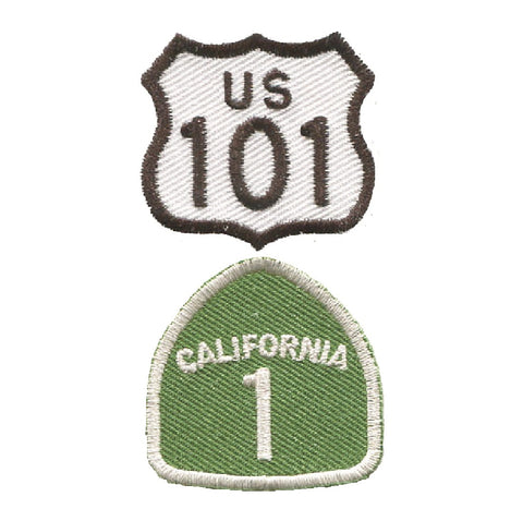 "Mini Highway 101 and California Hwy 1 Patch - CA Badge 1-3/8"" (2-Pack, Iron on)"