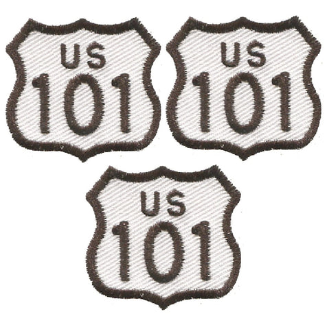 "Mini Highway 101 Patch - California, Oregon, Washington 1-3/8"" (3-Pack, Iron on)"