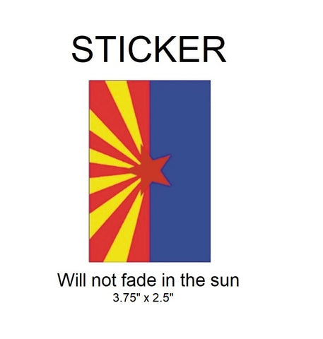 "Arizona Flag Vinyl Sticker - Will not fade in the sun, 3.75""x 2.5"""