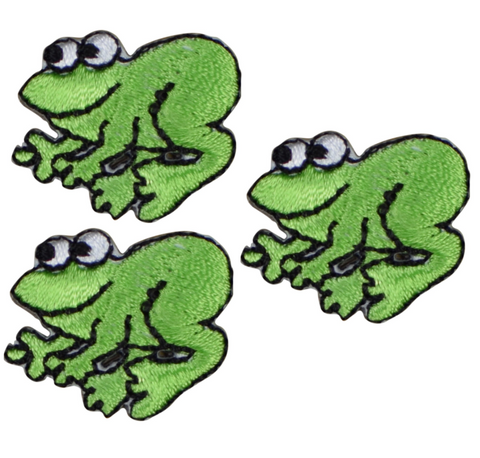 "Mini Frog Applique Patch - Amphibian Animal Badge 1"" (3-Pack, Iron on)"