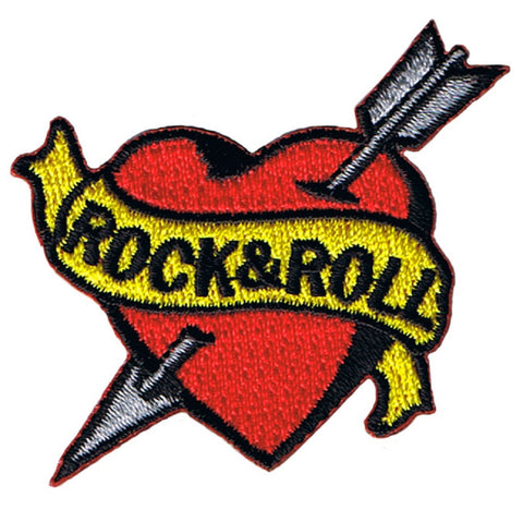 Rock and Roll Tattoo Patch - Arrow Through Heart, I Love Rock and Roll Music (Iron on)