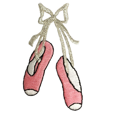 Pink Ballerina Dance Shoes Applique Patch - Medium (Iron on)