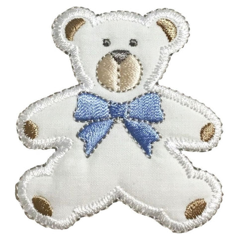 "Puffy Teddy Bear Applique Patch - Blue Bow 2-3/8"" (Iron on)"