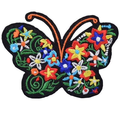 "Butterfly Applique Patch - Flowers, Insect, Antennae, Wings 3"" (Iron on)"
