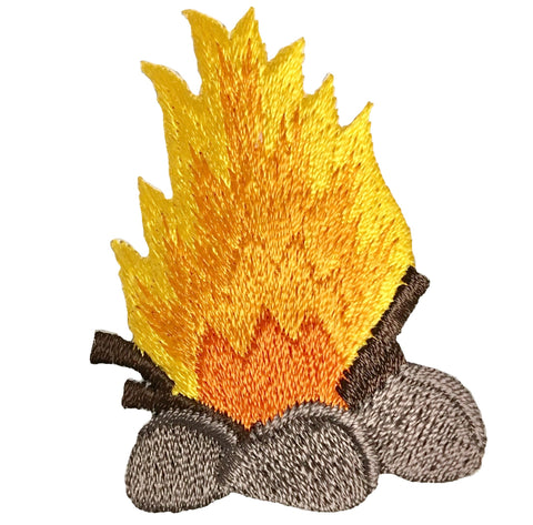 "Campfire Applique Patch - Camping, Scouts, S'mores, Backpacking 2"" (Iron on)"