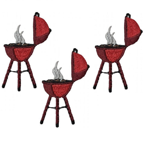 "Mini Barbecue Applique Patch - BBQ Grilling, Cooking 1-5/8"" (3-Pack, Iron on)"