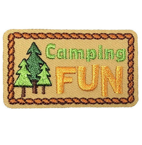"Camping Applique Patch - Camping, Hiking, Backpacking 2-1/8"" (Iron on)"