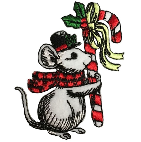 "Christmas Mouse Applique Patch - Scarf, Hat, Candy Cane 2.75"" (Iron on)"