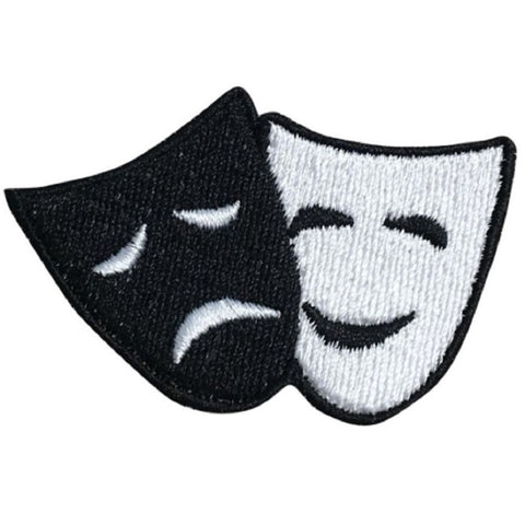 "Comedy and Tragedy Applique Patch - Drama, Theater, Acting 2-3/8"" (Iron on)"