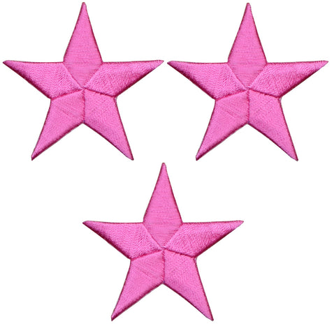"Star Applique Patch - Pink 2.25"" (3-Pack, Iron on)"