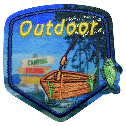 "Outdoor Activities Patch - Camping, Hiking, Fishing, Boating 2.25"" (Iron on)"