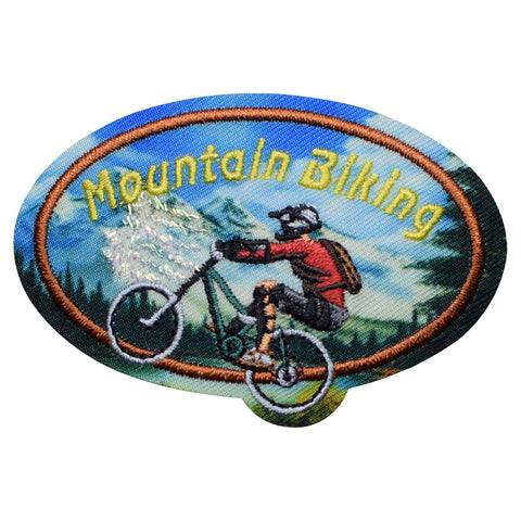 "Mountain Biking Patch - Riding Trails, Downhill, MTB Badge 2-5/8"" (Iron on)"