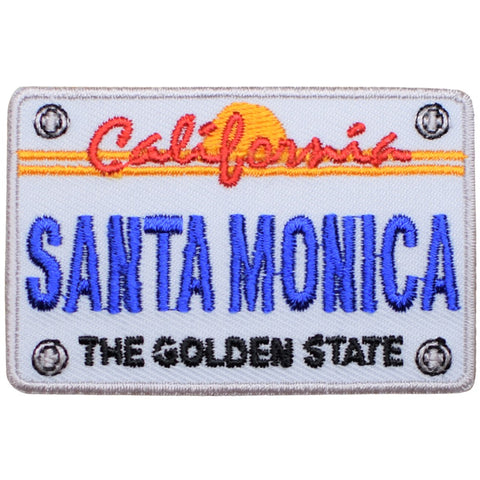 "Santa Monica Patch - California License Plate, Los Angeles Badge 2.75"" (Iron on)"