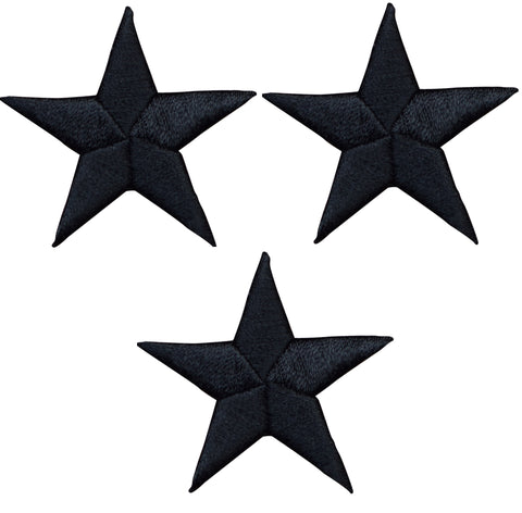 "Star Applique Patch - Black 2.25"" (3-Pack, Iron on)"