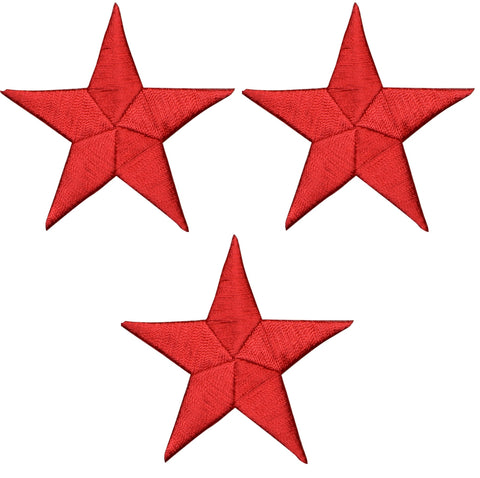 "Star Applique Patch - Red 2.25"" (3-Pack, Iron on)"