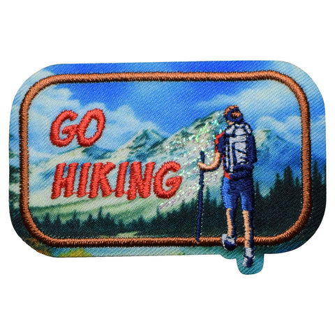 "Go Hiking Patch - Outdoors, Nature, Backpacking Badge 2.5"" (Iron on)"